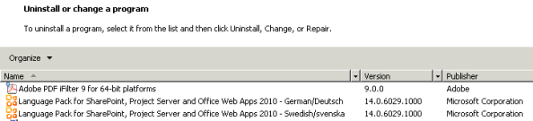 View in Control Panel, Uninstall or change a program