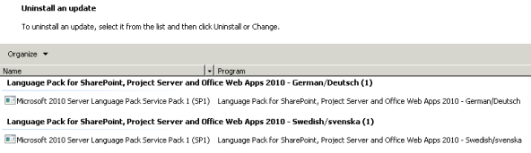 View in Control Panel, Uninstall an Update