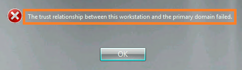 trust relationship between the workstation and domain has been broken