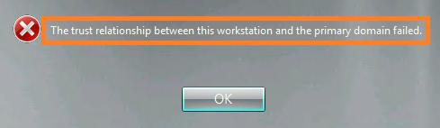 no trust relationship between workstation domain security